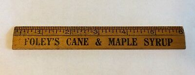 Vintage Advertising Ruler Foley's Cane & Maple Syrup Minnesota Mn General Store