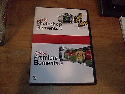 Adobe Photoshop Elements 5.0 And Premiere Elements 3.0 WIN XP CD ROM Software