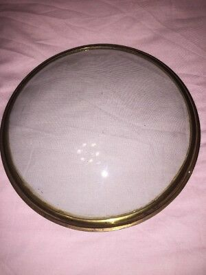 Convex Glass ANTIQUE WHEEL BAROMETER BRASS BEZEL GLASS PART SPARE REPAIR