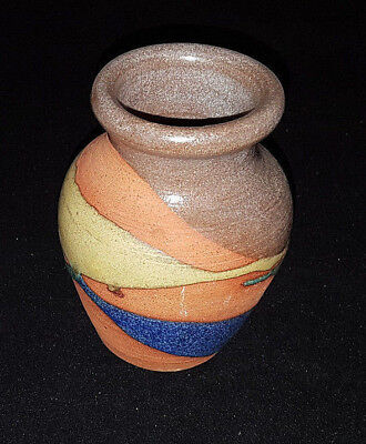 """Alfadom Pottery Vase. Terracotta and Varied Glazes. 4"""" Tall. Stamped & Stickered"""