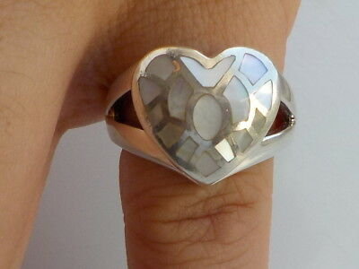 Silver Mother Of Pearl Heart Ring Metal Detecting Find.