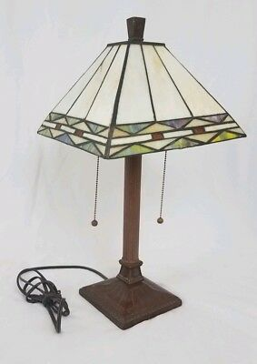 Vintage arts & crafts stained glass lamp double socket  pull chain mission style