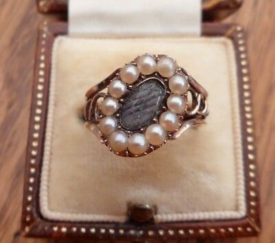 Antique Georgian Gold Pearl Woven Hair Panel Mourning Ring