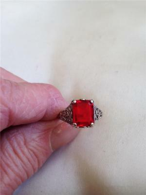 Gorgeous 3Ct Ruby Emerald Cut Victorian Design Ring, 7 1/2 , Special 7 Day Sale