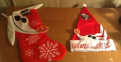 The Nightmare Before Christmas Zero Stocking and Santa Hat SET! FREE SHIPPING!