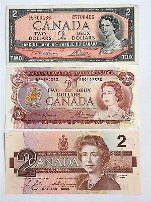 1954, 1974, 1986 CANADA TWO DOLLAR $2  BILL (VF to UNC) LOT OF 3 -- #176