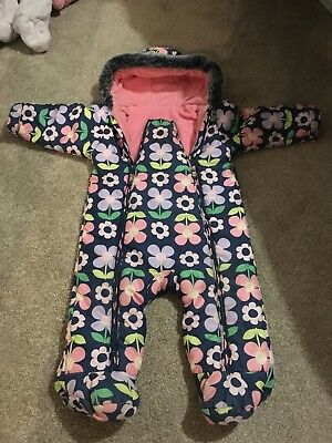 Girls Marks & Spencer Hooded Fleece Lined All In One Snowsuit Size 9-12 Months