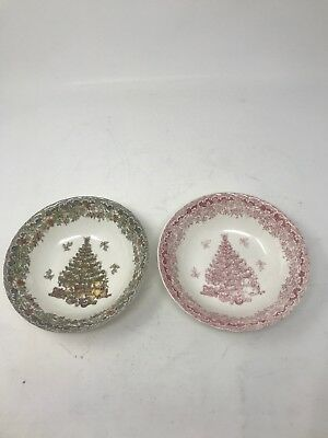 Two Cereal Bowls Seasons Greetings Christmas Queen's Myott Factory Design