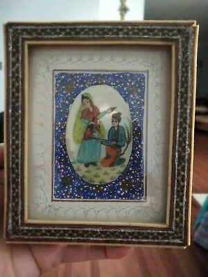 Persian khatam frame with Minakari miniature painting on pear ,Handmade !