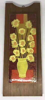 Vintage Mid-Century Modern Enamel on Copper Wall Art Vibrant Color
