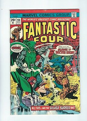 Fantastic Four #156 (1975, Marvel) ft Silver Surfer, Dr Doom, Medusa, VG/FN
