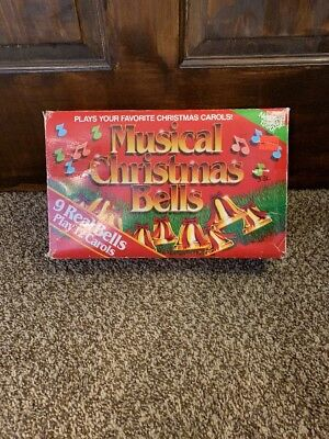 VINTAGE MUSICAL CHRISTMAS BELLS-9 BELLS PLAY 12 CAROLS BY CAPRICORN in Orig. Box