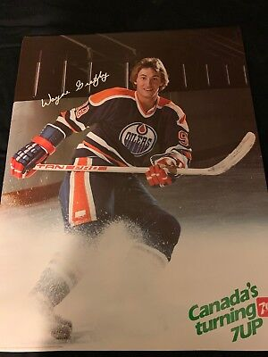 "WAYNE GRETZKY EDMONTON OILERS 1980's 7up ADVERTISING POSTER 25"" x 19"" in."