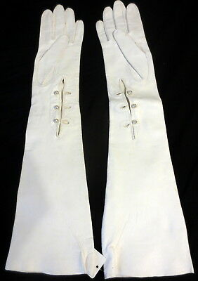 VintageWhite Long Italian Leather Opera Gloves, Size 7,17 3/4 Inches Long