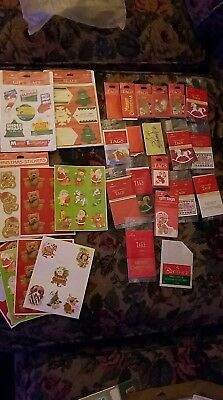 Vintage Lot Christmas Gift Tags Cards Seals More RARE Older Types stickers xmas