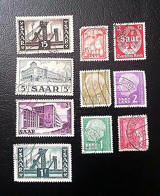 Germany, Lot of Saar Old Stamps, Mixed Condition, 10 stamps