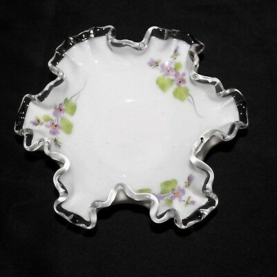 Vtg Fenton Violets In The Snow Ruffle Edge Small Candy Bon Bon Nut Dish Bowl