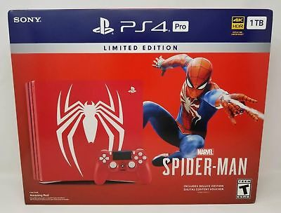 Sony PlayStation Pro 1TB Limited Edition Spider Man Console Bundle PS4 HD 4K TV