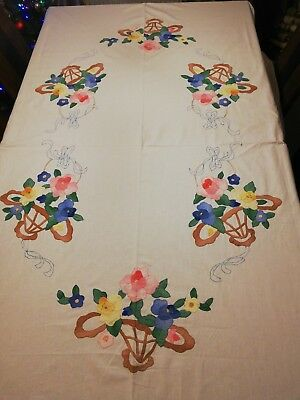 Christmas Large Vintage Linen Tablecloth With Hand Embroidered Applique Flowers