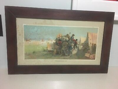 Vintage 1900s Anheuser Busch Print Attack On An Emigrant Train Beer Sign Pre Pro