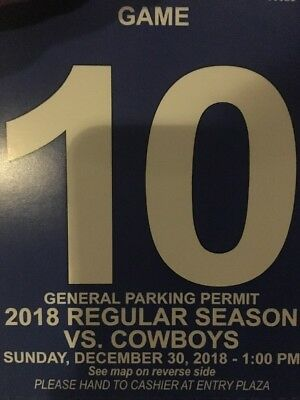 Blue Parking Pass New York Giants vs  Dallas Cowboys 12/30/18