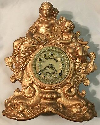 Ansonia Cast Iron Figural Advertising Clock Time and Chime - L Williams Clocks