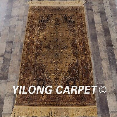 YILONG 3'x5' Handknotted Antique Persian Silk Carpet Ancient Authentic Rug YL22H