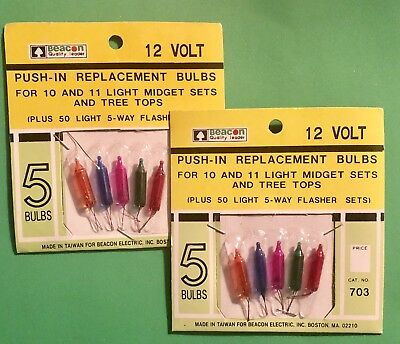 Vintage Push In Replacement Bulbs 12 Volt  Multi Color Lights New 2 Packages