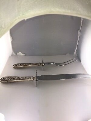 Antique Sterling Silver Carving Fork & Knife By The Stieff Co