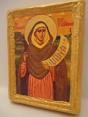 Saint Bridget Brigit of Ireland Rare Irish Religious Catholic Byzantine Icon