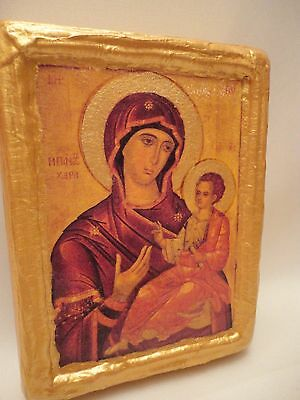 Virgin Mary Pantohara Christianity Rare Byzantine  Eastern Orthodox Wooden Icon