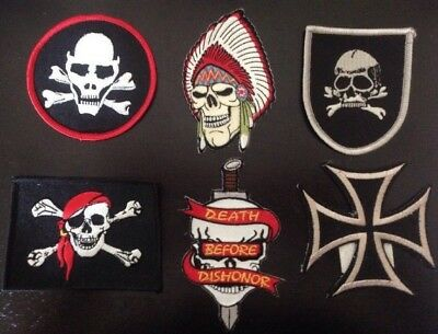 Lot Of 6 Skull Patches Pirate Bones Iron Cross Head Dress Embroidered Iron-on