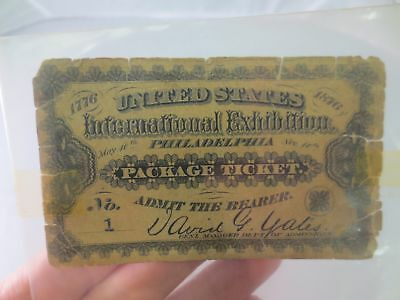 1876 Us International Exhibition Package Ticket Philadelphia No 1