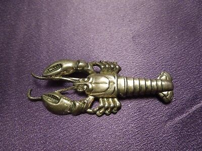 Sterling Silver Lobster Brooch Pin Vintage Marine Nautical Molded Silver