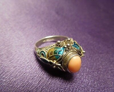 Antique Chinese Export Sterling Silver Coral Enamel Cloisonne Ring Size 7 3/4