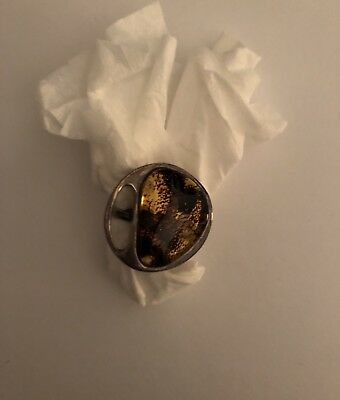 Vintage Sterling Silver And Amber Moon Shaped Ring Size 8