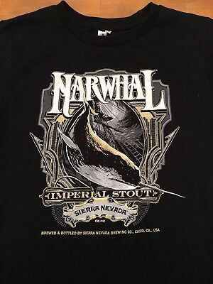 Sierra Nevada Brewing Narwhal Imperial Stout ~ SZ MED WM's Beer Black T-Shirt
