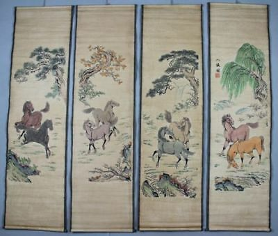 A Set of 4pcs, Collection Old Scroll Chinese Painting/Horses painting works