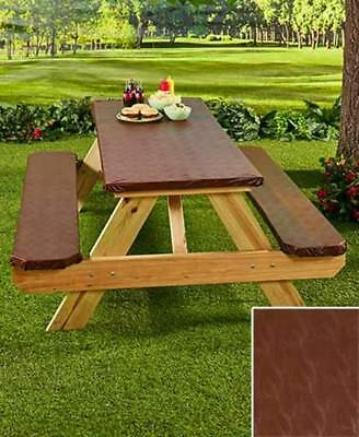 3 Pc Picnic Table Cover Custom Fit Elasticized Binding Summertime