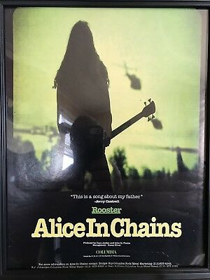 Alice In Chains-Rooster-Rare Promotional Only Ad-Framed-Beautiful Shape-1993!!