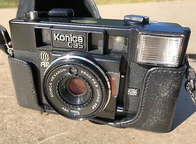 Konica C35 AF2 38mm F2.8 Film Camera with cover/case and strap