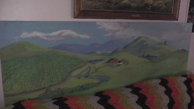 huge train layout backdrop original painting 6 ft long hills mountains vineyards