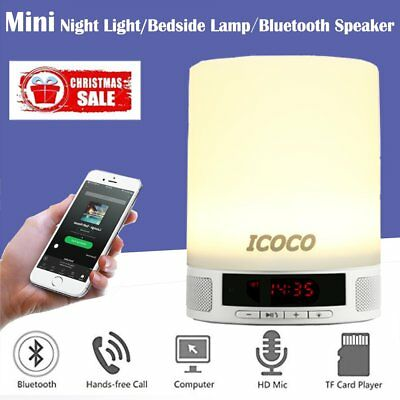 Bluetooth Speaker Touch Sensor Bedside Lamp Night Light LED Alarm Wake Up RGB WI