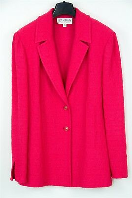 St. John Collection Marie Gray Boucle Pink Blazer Suit Jacket, Size 12