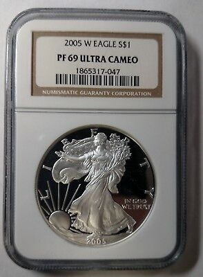 2005-W Proof American Silver Eagle NGC PF69 Ultra Cameo Proof