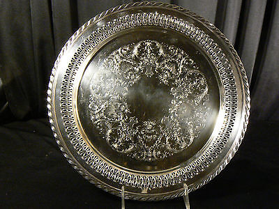 Vintage Wm Rogers Silver Plate Server, Pierced Reticulated Tray