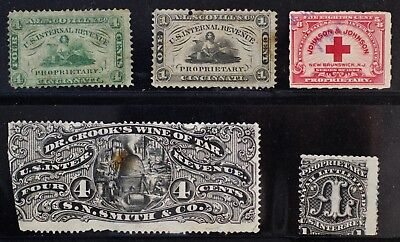 Lot of 5 RS US Revenue Medicine Private Die Proprietary Stamps
