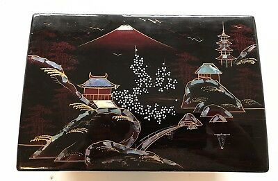 Vintage Musical Oriental Japanese Wood Lacquer Jewelry Box Abalone Accent Mele