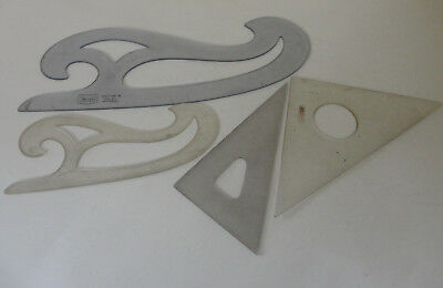 4 Templates -  Bruning Triangle No. 2591, French Curves Sears 87,  FC 338,