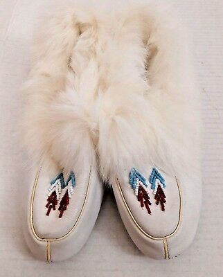 Slippers Vintage White Rabbit Fur Leather Raven Wing Moccasin Native Americans
